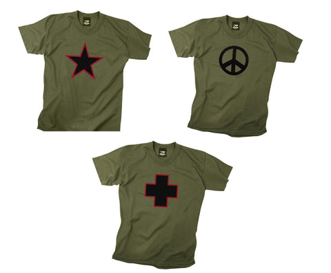 Olive Drab Military Hipster T-Shirts - Dark Green Star,Peace,Cross Tee's  S-3X