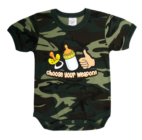 Camo 'Choose Your Weapon' One-Piece Infant Baby Sleeper: Sz 3 Months - 3T