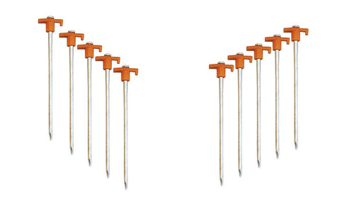 10 Inch Tent Stakes 10 Pack - Nail Head Spike For Easy Bracing - Tents Tarps Etc