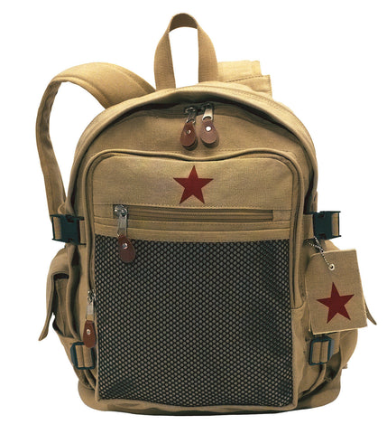 Deluxe Khaki Vintage Front 'Star' Backpack - Great Beach or School Bag Tan NEW!