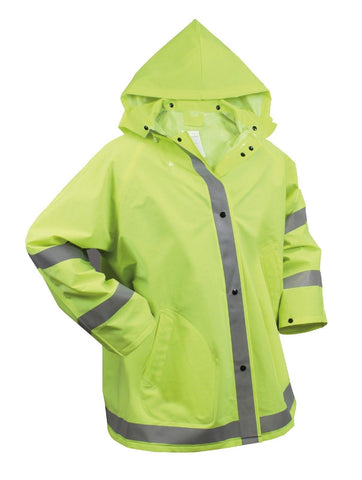 Safety Rain Jacket - Reflective Green Hi-Vis Raincoat Rainjacket w/ Hood S - 3XL