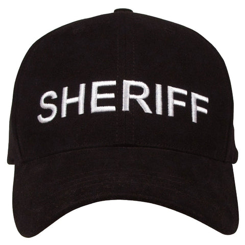 """Sheriff"" Deluxe Low Profile Cap - Black - Embroidery In White On Hat"
