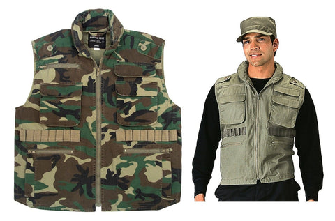 Vintage Ranger Vests Camo Versatile Military Tactical Outdoor Vest w/ Hood S-2XL