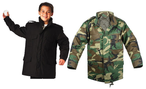 Kids M-65 Field Jacket - Boys Military Jackets - Black Or Wood Camo Winter Coat