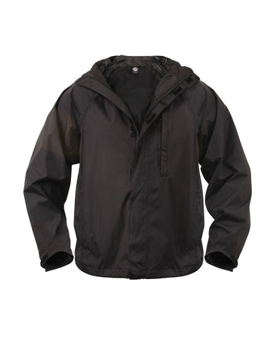 Rothco Packable Black Rain Coat Jacket - Folds into its own Pack!