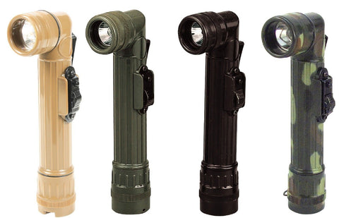 Mini Army Style Waterproof Flashlights w/ Belt Clip, Extra Lenses & Spare Bulb