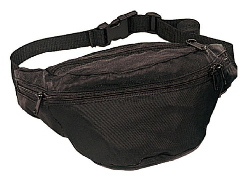 Black Fanny Packs -Tourist Travel Vacation Compact 4 Pocket Waist Hip Fanny Pack