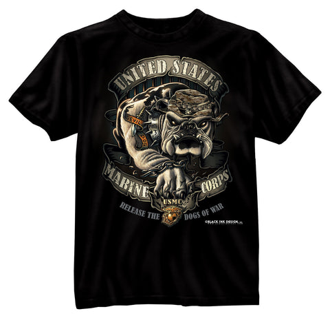 Black Ink Bulldog Black USMC 2-Sided T-Shirt