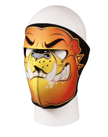 Neoprene Full Face Mask - Bulldog Design In Orange And Black