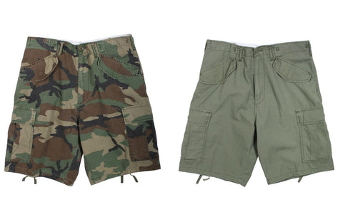 Vintage M-65 Field Shorts - Rip Stop - Woodland Camo - Olive Drab