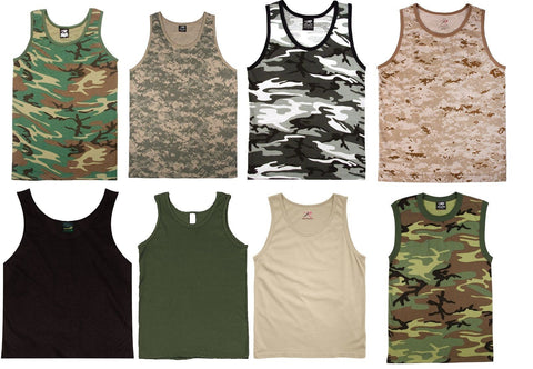 Camo and Colored Tank Tops Shirts Sleeveless Muscle Tanktop Tees T-Shirts NEW!