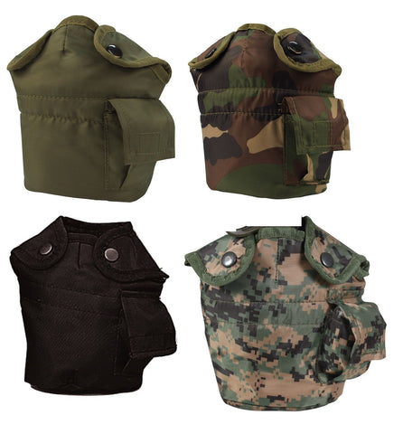 G.I. Style 1 Quart Canteen Covers w/ Keeper Clips - Fleece Lined - Camo, OD, Blk