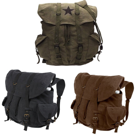 Vintage Weekender Cotton Canvas Backpack - Rucksack Schoolbag - Brown, Black, OD