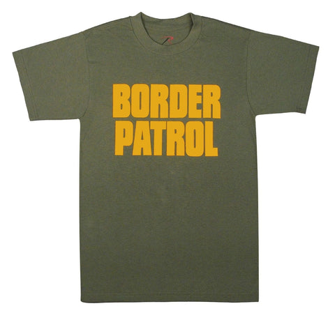 BORDER PATROL T-Shirt Green & Gold 2-Sided Cotton Tee Undershirt Top