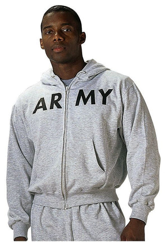 Grey Army Zip Up Hoodie - GI Type Physical Training Zippered Sweatshirt W/ Hood