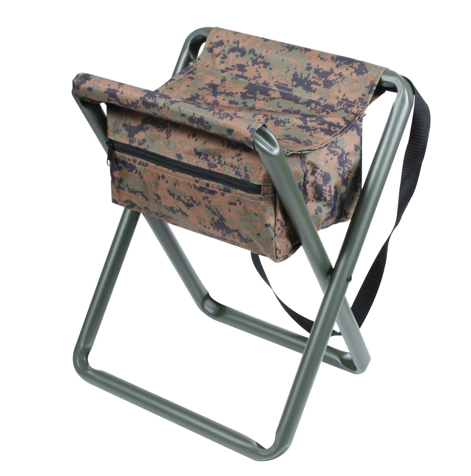 Deluxe Camo Folding Camp Stool W Pouch Woodland Acu