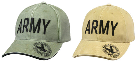 Vintage Deluxe Low Pro Insignia Cap - ARMY - OD or Khaki Military