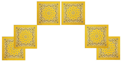 "6 PACK Yellow Trainmen Bandanas 22"" Paisley Soft Cotton Beach Headwrap Bandanas"