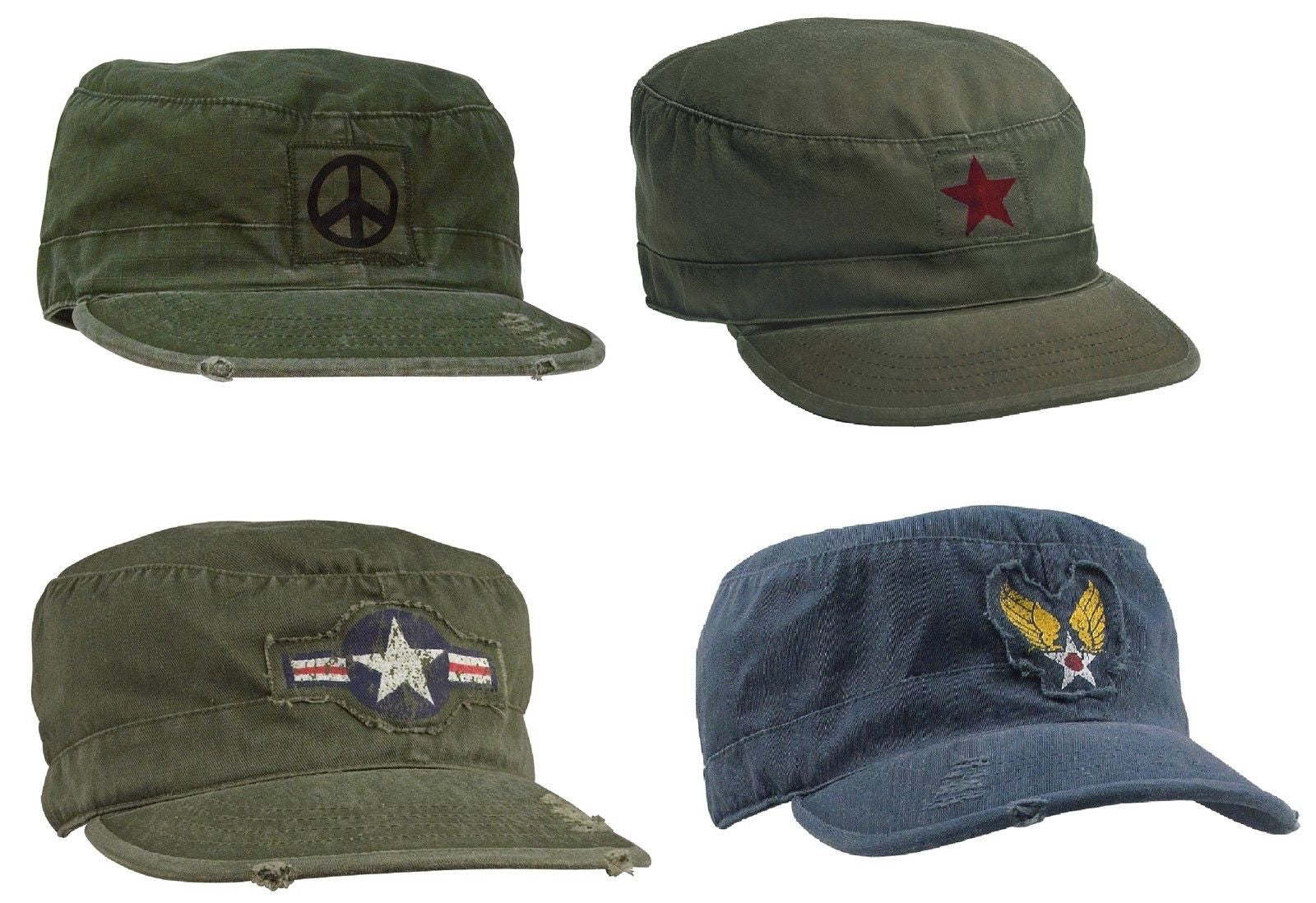 0c1e8d5b95f Vintage Fatigue Caps Military Air Corp Peace Sign Hippie Distressed Casual  Hats Blue w  Winged Star Olive Drab ...
