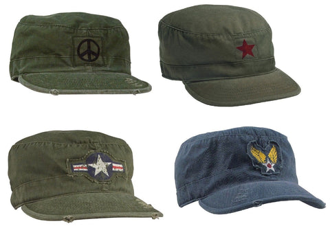 Vintage Fatigue Caps Military Air Corp Peace Sign Hippie Distressed Casual Hats