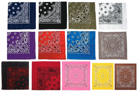 "Trainmen Bandanas -22"" Paisley Military Hippy Biker Style Bandana 100% Cotton"