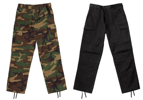 Relaxed Fit BDU Cargo Pants Black & Camouflage Zip Fly Mens Camo Battle Pants