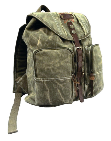Stonewashed Canvas Backpack w/ Leather Accents - Casual Grunge Style School Bag