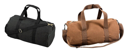 Trendy Shoulder Bags - Heavyweight Canvas Shoulder Bags - Black or Brown