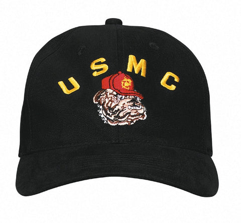 """USMC"" Bulldog Cap - Black Deluxe Low Profile Baseball Cap"