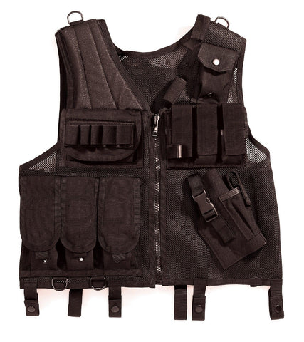 Black Quick Draw Tactical Vest Basic Issue Airsoft Battle Vests 1 Size Fits Most