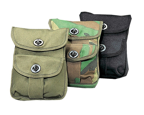 Canvas 2-Pocket Ammo Pouches - Hunting Ammunition Pouch Black, Camo, OD