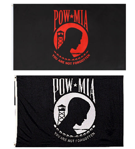 POW MIA Flags - Patriotic Black and White/Red Military Rememberance Flags 3'x5'