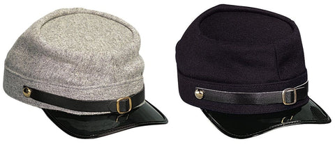 Civil War Wool Kepi In Confederate Grey or Union Navy Blue