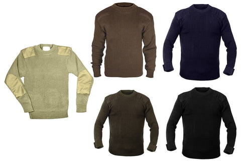 Military Style Commando Sweater GI Type Acrylic Sweaters Shoulder & Elbow Patch