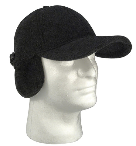 Black Polar Fleece Low Profile Cap w/ Earflaps Adjustable Cold Winter Ear Hat