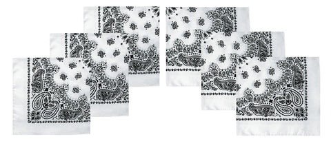 "White Paisley Bandana 6 PACK - Black and White Bandanas Trainmen 22"" Headwraps"