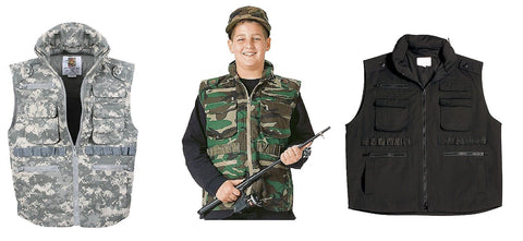 Kids Ranger Vests - Black,Camo & ACU Boys or Girls Adventure/Fishing Vest XS-XL