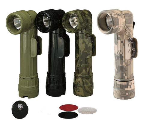Genuine G.I. Flashlights - Angle Flash Lights - OD, Black, Camo, ACU - U.S. Made