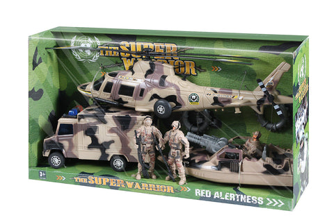 Kids Super Warrior Vehicle Play Set - Desert Camouflage - 10 Piece Set