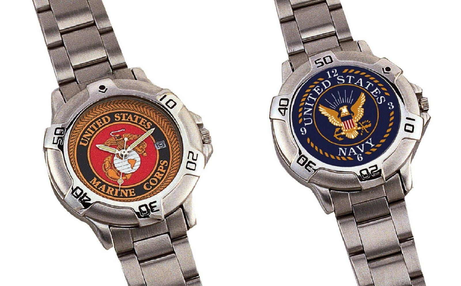 Marine corps or us navy logo quartz watch usmc military wristwatch wat grunt force for Marine watches