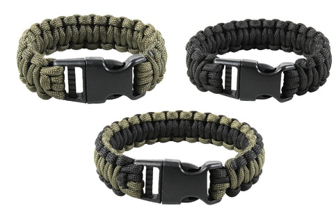 Deluxe Paracord Bracelets - All Sizes - Olive, Black or OD and Black Outdoor
