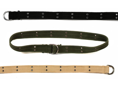 Vintage Military D-Ring Belt - Black, Khaki, Olive Drab