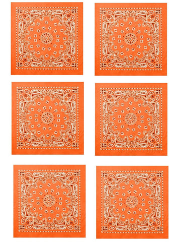 Orange Bandana 6 PACK Trainmen Paisley Cotton Bandanas Headwrap Biker Dog Scarf