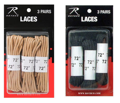 "72"" Black Shoe Laces or Desert Tan Shoelaces - Nylon & Great for Boots - 3 PAIRS"