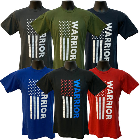 "Grunt Force ""WARRIOR"" American Flag 100% Cotton T-Shirt - 7 Colors"