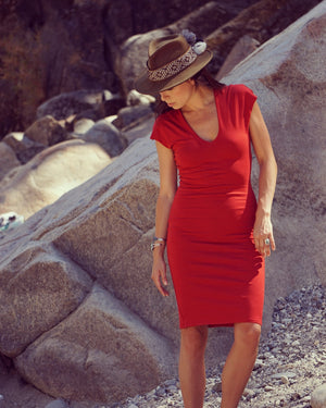 Carmine Red V Cotton Slip Dress