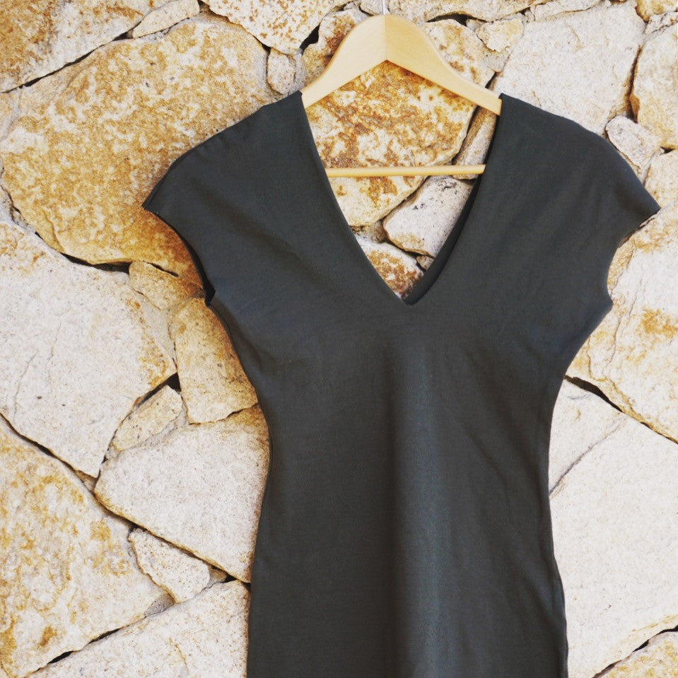 Dark Olive V Cotton Slip Dress