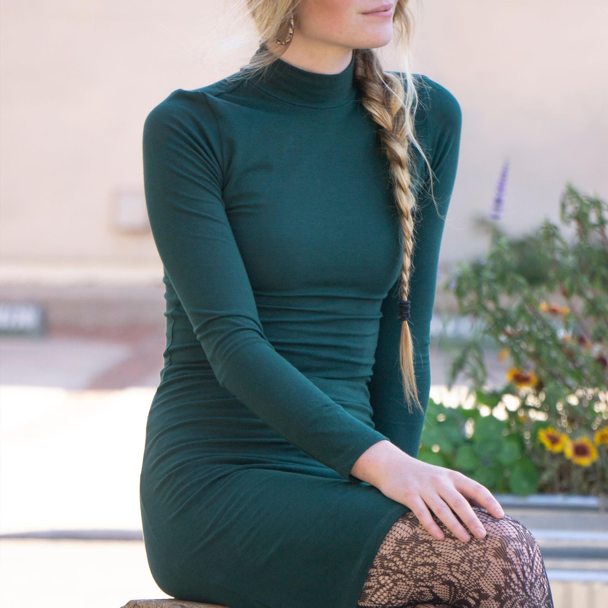 Turtleneck Dress || Huntress Green