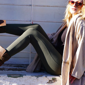 Signature Cotton Legging || Dark Olive