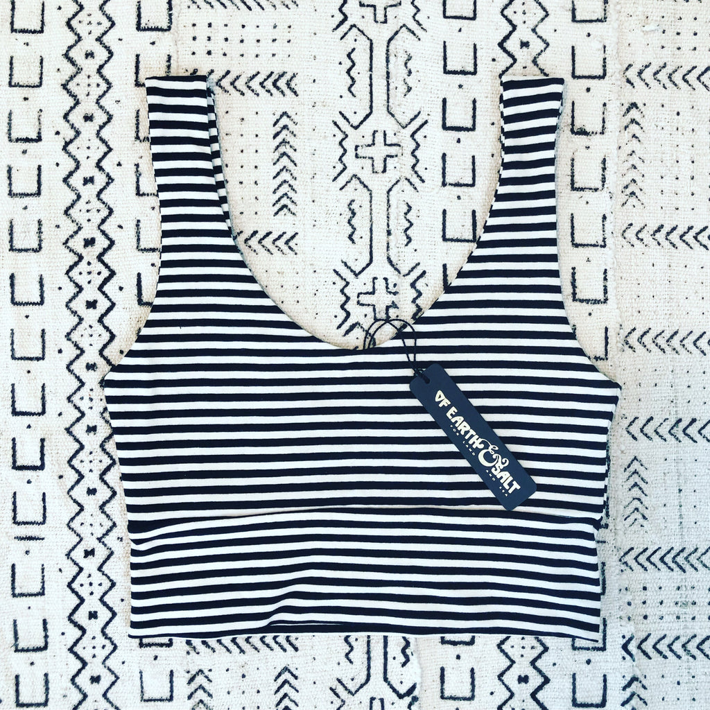 Versatile Crop Tank || Black & White Stripe